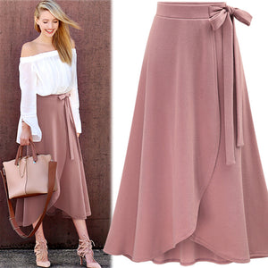 Chiffon Pink Ruffle Women's Long Skirt High Waist Bowtie Split Irregular Maxi Skirts Womens Spring Winter Office Clothes Women-geekbuyig