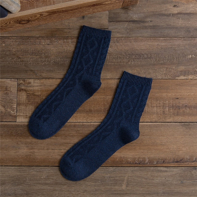 1 Pair Thick Winter Warm Crew Socks Men Simple Solid Braided Cotton Socks Casual Calcetines Hombre Business Male Socks-geekbuyig