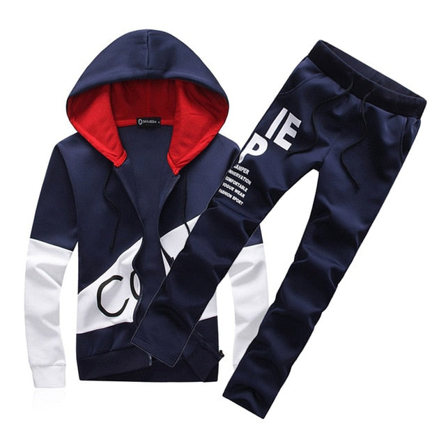 2018 brand sporting suit men warm hooded tracksuit track men's sweat suits set letter print large size sweatsuit male 5XL sets-geekbuyig