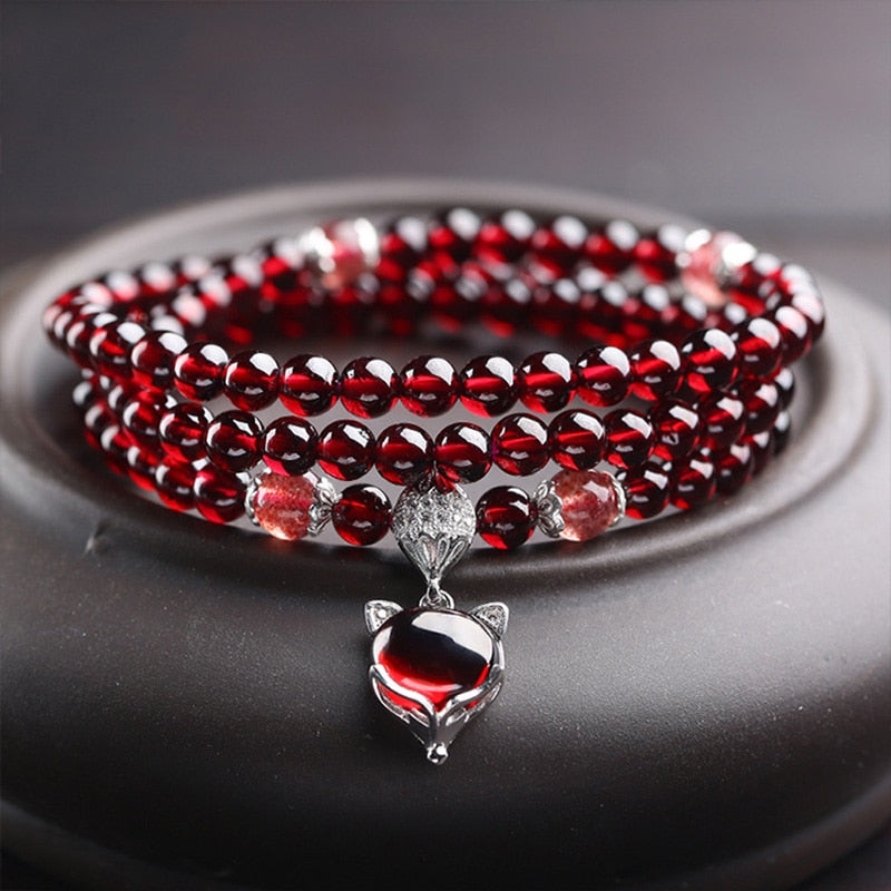 Wine Red Garnet Bracelets For Women Natural Gemstone 925 Sterling Silver Jewelry Fox Gourd Pixiu Snowflake Charm Best Gift Girls-geekbuyig