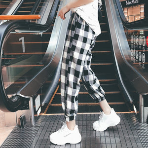 New Fashion Women Plaid Cargo Pants Drawstring Girls Plus Size Mid Waist Bodycon Trousers Loose Ankle-Length Pants Pantalon-geekbuyig