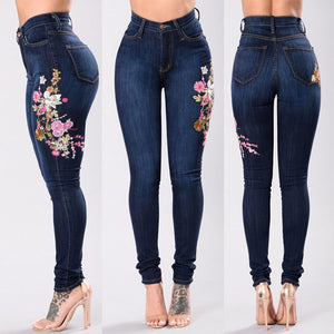 Women's Fashion Embroidered Feet High-elastic Jeans Blue Holes Woman Denim Pants Trousers For Women Pencil Skinny Jeans-geekbuyig