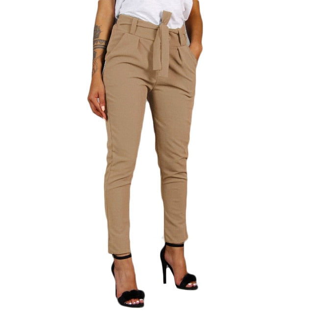 pantalon Women Office Pencil Pant High Waist Bow Tie Trousers Bandage High Waist Elastic Stripe Casual Pant Female Trouser #23-geekbuyig