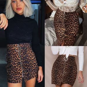 2018 New Fashion Women's Leopard Printed Mini Skirt High Waist Sexy Skirt Pencil Bodycon Hip Short Skirt Female Clothing-geekbuyig