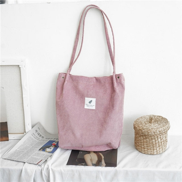 Women Corduroy Shoulder Bag Ladies Casual Eco Tote Handbag Folding Reusable Shopping Bags Purse Female Cotton Canvas Cloth Pouch-geekbuyig