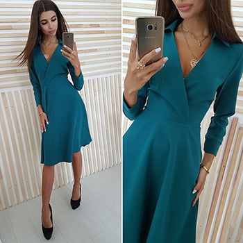 New Women Deep V-Neck Autumn Dress 2018 Elegant Solid Long Sleeve Slim A-Line Dress Party Dresses Female Vestidos-geekbuyig
