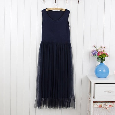 LANMREM 2019 spring Fashion New Yards Gauze Lace O-neck Sleeveless Tank Dress Woman Sweet Y08800-geekbuyig