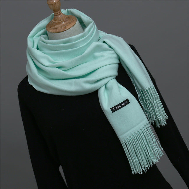 2018 New Fashion Women Spring Winter Cashmere Scarf Female Shawl and Wrap Lady Solid Pashmina Long Size Head Scarves Hijab Stole-geekbuyig