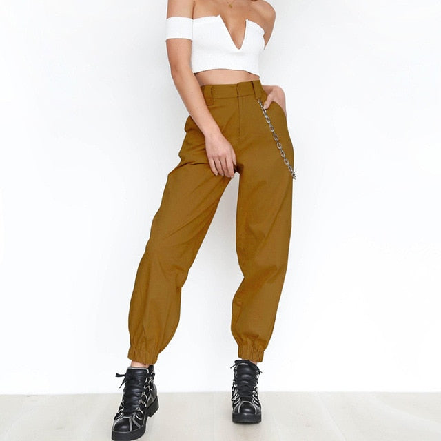 2019 Fashion Women Female Solid High waist Harem Pants Loose Joggers Chain Pocket Cargo Pants Fitness Punk Streetwear Trousers