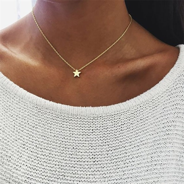 KISSWIFE New Tiny Heart Necklace for Women SHORT Chain Heart Shape Pendant Necklace Gift Ethnic Bohemian Choker Necklace-geekbuyig
