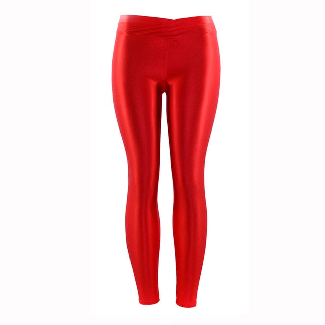 Wulekue Fluorescent Color Women Workout Leggings V-Waist Multicolor Shiny Glossy Trousers Plus Size Female Elastic Casual Pants-geekbuyig