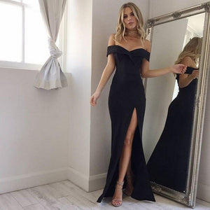 Summer New Arrival Off Shoulder Sexy Black Pink Dress 2019 Sexy Split The Fork Dress Women Elegant Slash Neck long Dress Vestido-geekbuyig