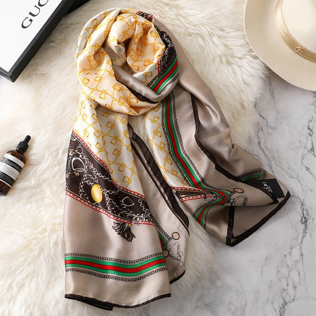 New Fashion Houndstooth Spring Winter silk scarf for women female Luxury brand Korean version Ladies shawl femme Hijab Scaves-geekbuyig