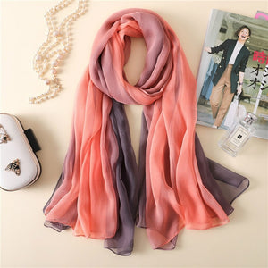 2018 brand women silk scarf hot spring Echarpe Gradient color Summer Wrap female Scarves Foulard Beach cover-ups 180*140cm-geekbuyig