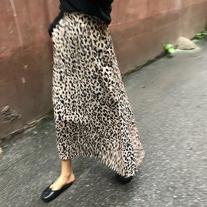LANMREM 2018 spring Fashion New High Waist Leopard Print All-match Female's Long Type Retro Skirt YE59912-geekbuyig