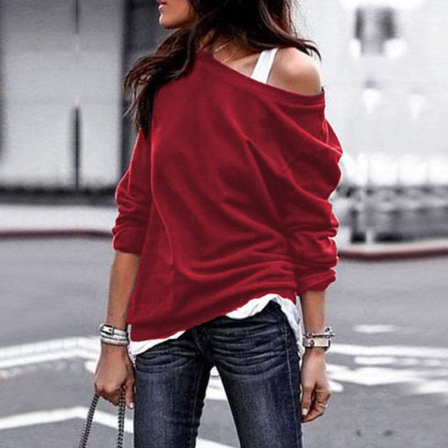 2019 Fashion Autumn Winter Women Sweatshirts Sexy Off Shoulder Slash Neck Long Sleeve Solid Color Tops Loose Casual Sweatshirts-geekbuyig