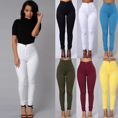 Women Pencil Stretch Casual Look Denim Skinny Jeans Pants High Waist Trousers-geekbuyig