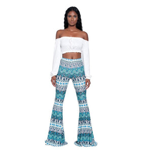 2019 Summer Vintage Ethnic Print Flare Pants Women High Waist Full Length Pants Trousers Casual Pantalones Streetwear Femme-geekbuyig
