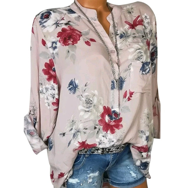 LASPERAL 2019 Women Summer Autumn Long Sleeve V Neck Women Blouse Floral Print Irregular Shirts 5XL Plus Size Women Tops Blouse-geekbuyig
