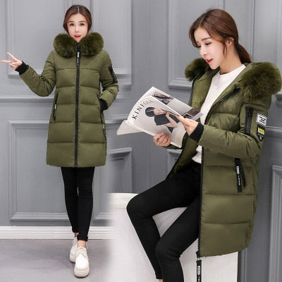 Parka Women's Winter Jacket Long Casual Jacket Fur Hooded Thick Parka Ladies Winter Parkas Female Overcoat Cotton Woman Coat-geekbuyig
