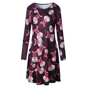 5XL Plus Size Women Long Sleeve Loose Dresses 2019 New Casual Christmas Dress Tree Snowman Printing Mini Dress For New Year-geekbuyig