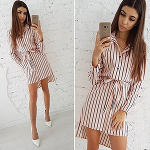 2018 Autumn Fashion Women Striped Print Dress Casual Turn-down Collar Long Sleeve Button Shirt Dresses Vintage Striped Vestidos-geekbuyig