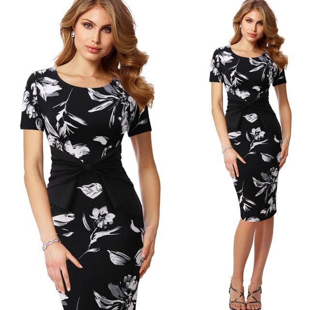 Vfemage Vintage Solid Color Print Ruffle Bow Wear to Work Zipper vestidos Bodycon Office Business Party Sheath Women Dress 361-geekbuyig