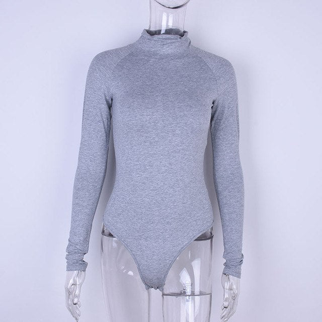 2018 Autumn Winter Women Cotton Skinny Bodysuit Solid Sexy Body Suit High Neck Long Sleeve Rompers-geekbuyig