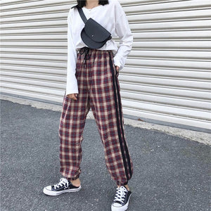 2018 Autumn Harajuku Red Green Plaid Pants Women Korean Retro Casual Elastic Waist Harem Pants Streetwear Trousers Female-geekbuyig