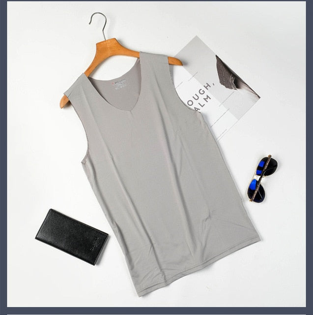 1PC New Men Seamless Vest Ice Silk Sweatshirt Vest Sport Quick Drying Tops Breathable Sleeveless V-Neck Bottoming Shirt T83-geekbuyig