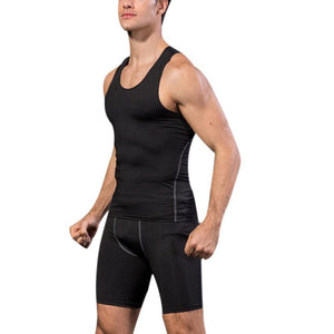 Summer New Quick Dry Men's Compression Tights Tank Top Men Fitness Sleeveless Vest Men Clothes-geekbuyig