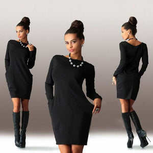 2018 New Solid Pockets Casual Loose Autumn Dress Women's O-Neck Long Sleeve Mini Bodycon Dresses vestidos-geekbuyig