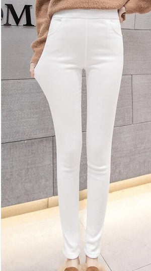 Women add velvet pants Warm 2018 autumn winter female casual solid elastic stretch skinny pencil pant plus size tight trousers-geekbuyig