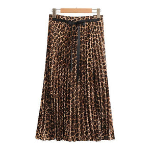 women ins chic leopard print pleated skirt animal pattern faldas mujer Drawstring tie side split casual midi skirts-geekbuyig