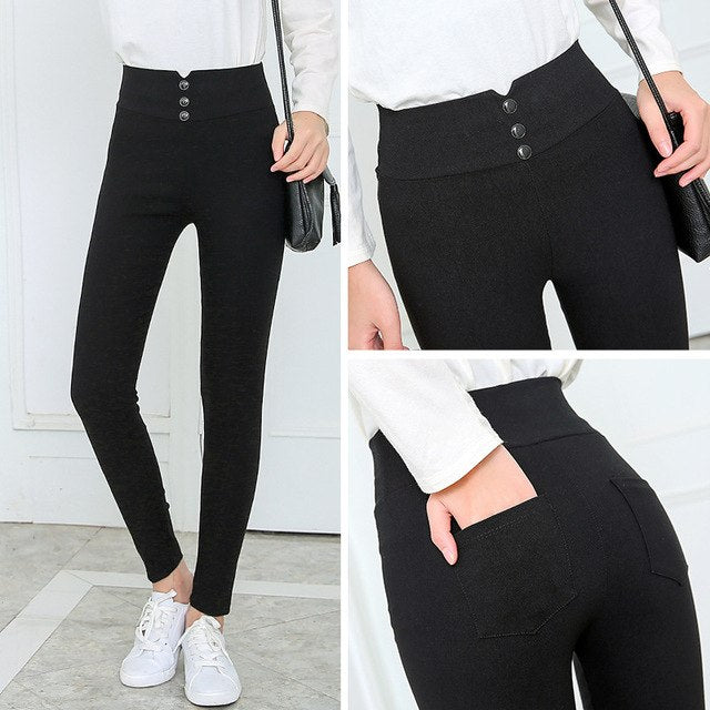 Black 2019 Spring New Fashion Women Pencil Pants Casual Elastic Waist Skinny Trousers Plus Size Black Stretch Ankle-Lengt Pants-geekbuyig