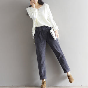 Women's Corduroy Pencil Harem Pants High Waist Vintage Solid Long Trousers For Women 2019 Spring Winter Ladies Bottoms Plus Size-geekbuyig