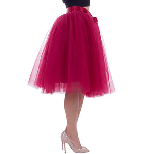 New Fashion 6 Layers 65cm Tulle Skirts Women's Black Gray White Adult Tulle Skirt Elastic High Waist Pleated Midi Skirt Clothing-geekbuyig