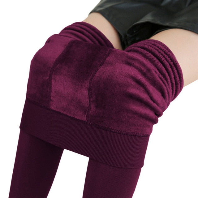 NORMOV S-3XL Plus Size Warm Winter Leggings Women Warm Velvet Pants Leggins High Waist Thick Legging Winter Pant Trousers Women-geekbuyig