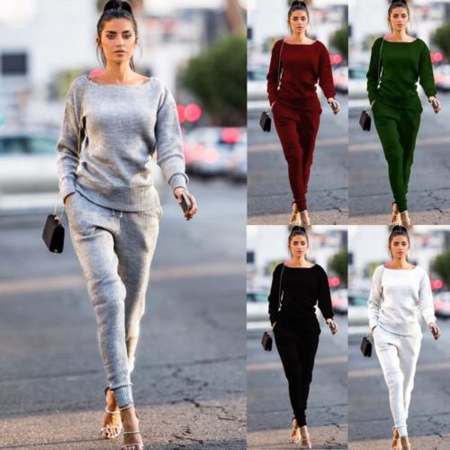Women Tracksuit 2pcs Set Long Sleeve Pullovers Tops Pants Cotton Outfits Sportswear Joggers Women Sweatsuit Set Female Clothing-geekbuyig