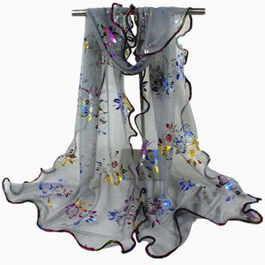 2018 Luxury Lace Scarf Long Soft Wrap Shawl Women Colorful Flower Printing Stole Pashmina Summer Beach Scarves Ponchos Echarpe-geekbuyig
