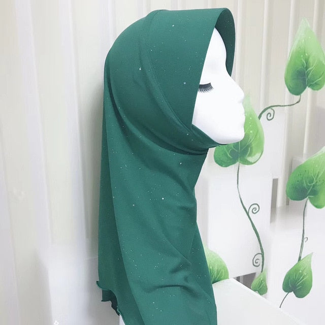 Diamond Cotton One Piece Instant Muslim Hijab Head wear Head scarf-geekbuyig