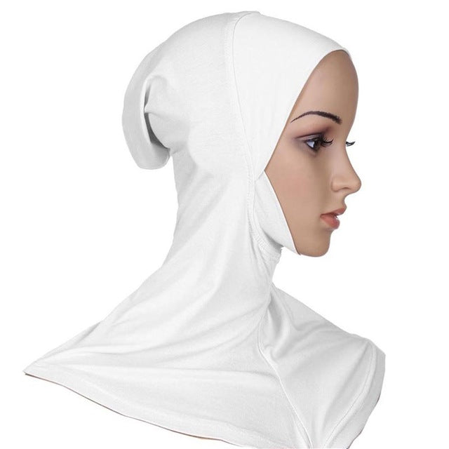 Muslim Hijab Headwear Full Cover Underscarf Ninja Inner Neck Chest Plain Hat Cap Scarf Bonnet-geekbuyig