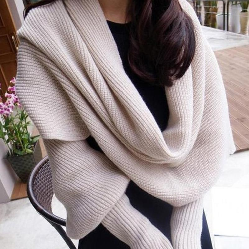 Winter Spring Fashion Woman Shawls Women Scarves Solid Sleeves Scarf Winter Warm Knitting Long Soft Wraps Scarves-geekbuyig