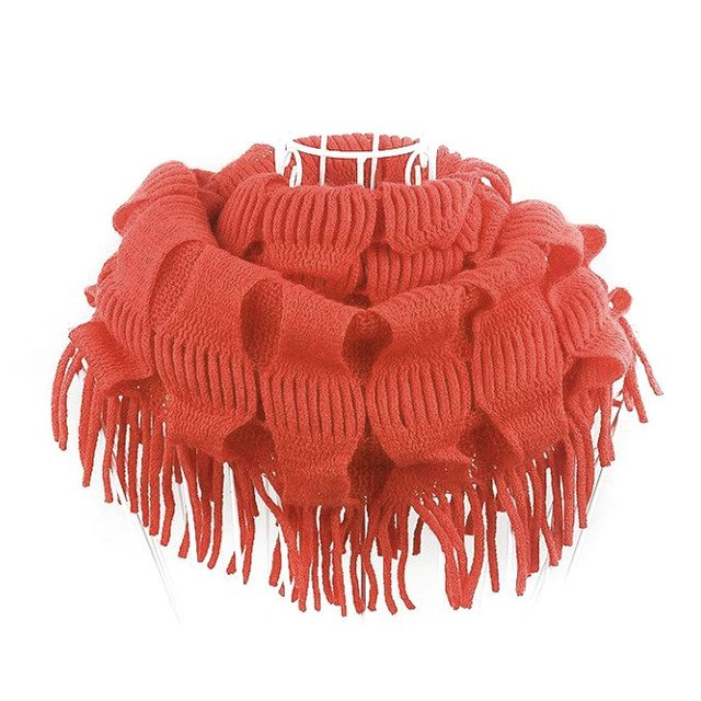 2017 New Fashion Womens Winter Warm Knitted Layered Fringe Tassel Neck Circle Shawl Snood Scarf Cowl -MX8-geekbuyig