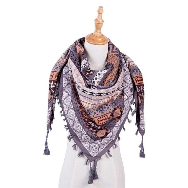 2018 Women Winter Plaid Triangle Scarf Female Casual Brand Designer Shawl Cashmere Scarves Blanket Wholesale Dropshipping-geekbuyig