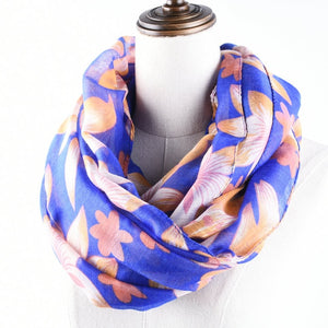 Guttavalli Women Europe Floral Loop Shawl Female Chevron Sunscreen Ring Wraps Scarf Soft Stripes Flowers Skinny Infinity Scarves-geekbuyig