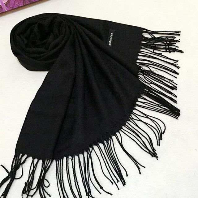 Black Red Gray yellow Solid Shawl Wraps Long Loose Colorful Faux Cashmere Design scarves for women stoles winter autumn scarf-geekbuyig