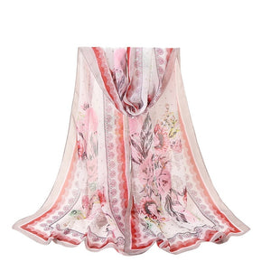 2018 red black 12 colour sale items silk shawl scarf women Fashion Flowers Printing Long Soft Wrap Shawl veil PSEPO4-geekbuyig