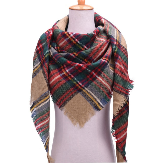 VEITHDIA 2019 Winter Triangle Wraps Scarf For Women Brand Designer Shawl Cashmere Plaid Scarves Blanket Wholesale Dropshipping-geekbuyig