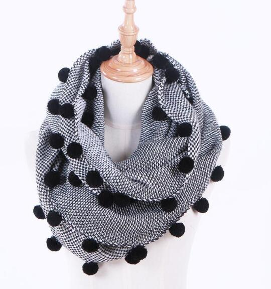 Thick Scarf for Winter European Designer Big Size Shawl Scarves Fur Pure Color with black Rabbit Fur Ball-geekbuyig